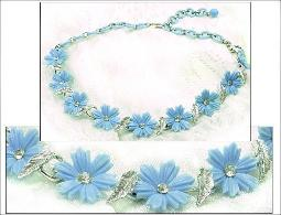 Blue Florals, 16 1/2 inch vintage flower necklace