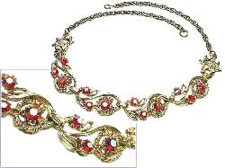 Brilliant Red Auorora Borealis RS Necklace
