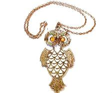 Whooooo - Gold Owl Necklace and Amber Eyes Vintage Necklace