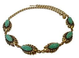Vintage jewelry necklace, green thermoset with golden detailed links