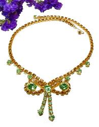 Demure Green Amber Rhinestone Necklace