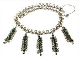 Antiuqe Green and Clear Chatons RS Sivler Neckalce