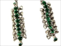 Antiuqe with sprays of green and clear crystal drops, necklaces clasp has a safety chain