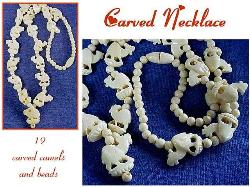 Intricately Carved Camel Ivory Necklace