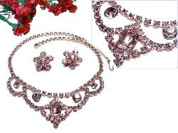 Pink Champagne Rhinestone Demi | Bridal Wedding Necklace Set