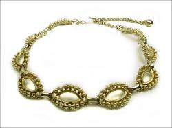 Textured Oval Links Gold Necklace Vintage Costume Jewelry