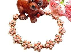 Vintage Pink Flower Necklace Rhinestone Center
