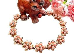 Summery vintage thermoset pink floral necklace