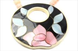 Floral MOP inlaid mother of pearl of pinks and blue, with black lucite