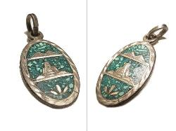 Inlayed Silver Turquoise Pendent Necklace