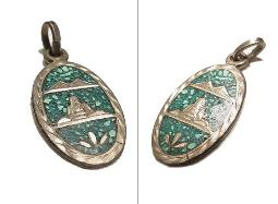 Hand cut SILVER mountains, inlayed silver turquoise pendant necklace