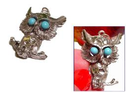 3-D Silvertone GREAT HORN OWL with Blue Eyes