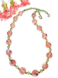 Vintage Facet Cut Crystal Necklace | Pinks and Greens Alternate
