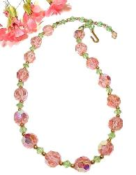 Vintage Facet Cut Crystal Necklace, Pinks and Greens Alternate