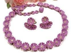 A Vintage Floral Statement Necklace Set featuring Pretty Pinks