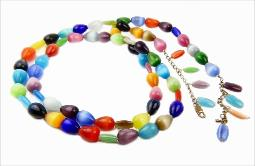 Colorful glass sets in a brilliant colorful long necklace