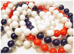 Vintage flapper necklace beads red white and blue