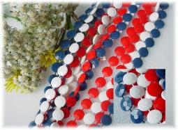 Vintage red, white, and blue plastic flat bead necklace