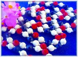 56 inch red white blue necklace signed Hong Kong