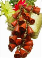 Antique wood jewelry, red wood bell necklace