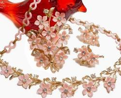 Full Parure Set, Pink Floral Necklace Brooch and Earrings