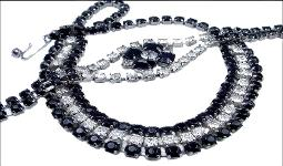 Rows of Black and Clear Round Chaton necklace set