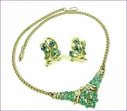 Teal Rhinestones Runway | Vintage Necklace Demi Parure at Teresa's