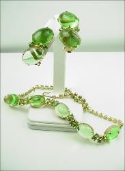 Bubble Glass and Round Chatons, Necklace Demi Parure