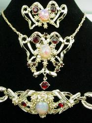 Opal Ruby Pearl Vintage 3-Pc Necklace Parure Set