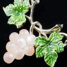 Glass Stone Pink Grapes and Volumes of Leaves