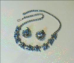 Heavy Blue Navette - Chaton Necklace Jewelry Set