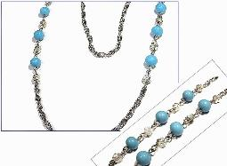 Signed Sterling, turquoise glass beads 24 inches in length necklace