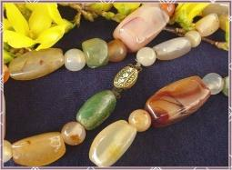 Burnt oranges, jade breens, peach's, ambers gem stones CZECH signed necklace