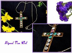 Signed Van Del Vintage Cross Necklace | Religious Jewelry