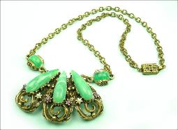 Purple white and green suffragette victorian revival necklace with graceful domed mounts
