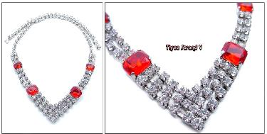 A high-end V rhinestone necklace | red and crystal, imagine it with a button up blouse or a sweater