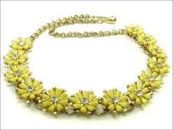 Yellow floral Necklace, Centered Clear Chatons
