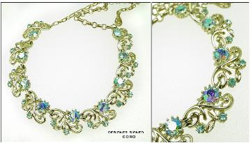 Mint Coro necklace, blue AB's and gold swirls