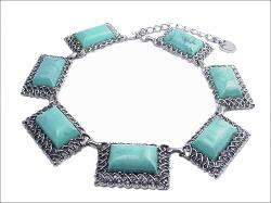 Faux Turquoise Cabochon Chunky Necklace