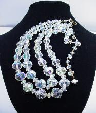 Two Strand Aurora Borealis Crystal, Vintage Wedding Jewelry