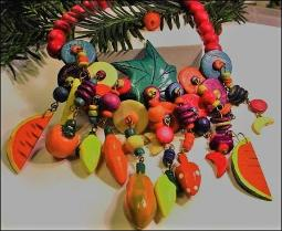 Vintage fruit necklace, watermelon, bananas, oranges, strawberries