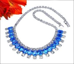 Vintage Blue Rhinestones Silvertone Necklace at Teresa's