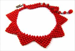 Deep Red Glass Stone Necklace