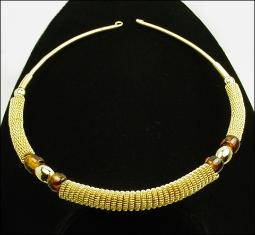 Ribbed Gold Choker with Dark Colored Glass Stones