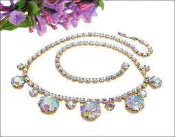 Opal AB dangle vintage rhinestone necklace features large round dangles