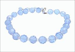 Large 1/2 in round crystal blue vintage necklace
