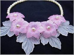 Pastel Pink and White Lucite Necklace