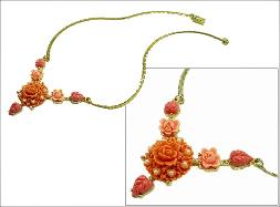 Deep Coral Carved Flower Necklace