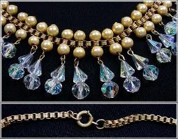 Pearls, Crystals, and Box Chain Antique Jewelry