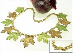 Large Leaves Antique Necklace, Gold Chain